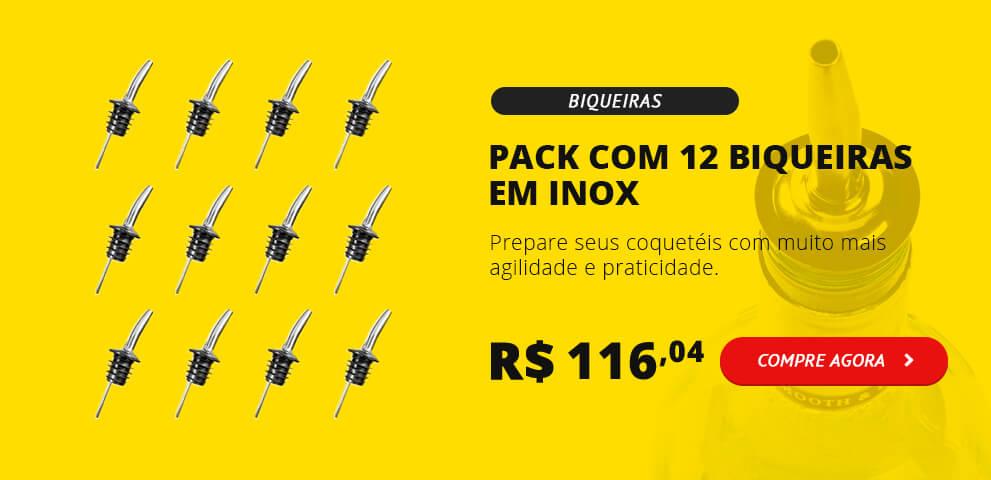 Pack 12 Biqueiras em Inox - Free Pour