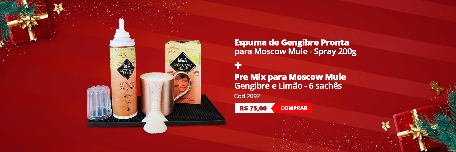 Kit Moscow Mule Pronto Espuma de Gengibre e 6 sachês Pre Mix
