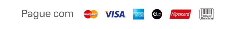 Pague com cartões de crédito ou boleto