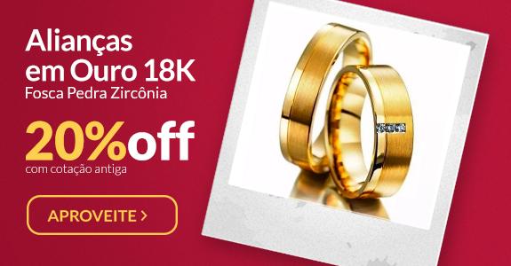 Alianças em Ouro 18K Fosca Pedra Zircônia