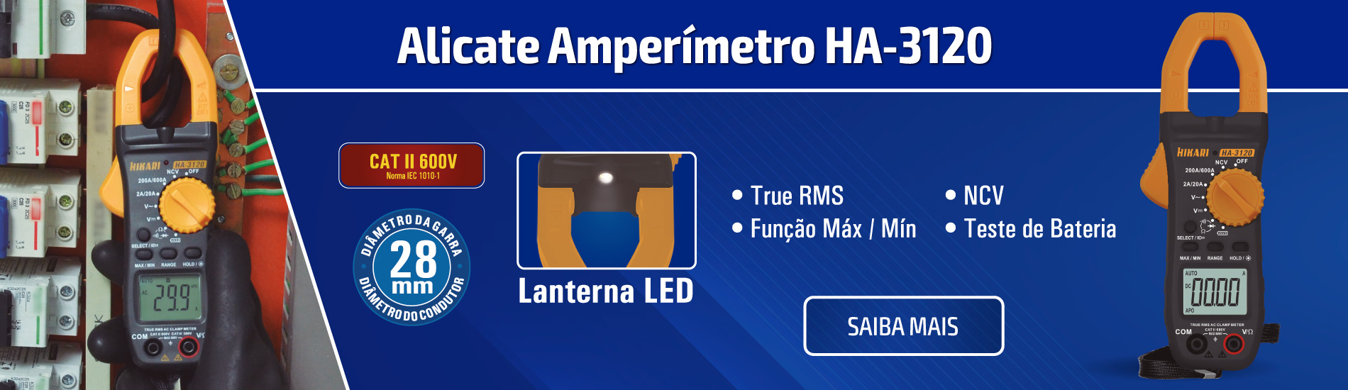 Alicate Amperímetro Digital True RMS CATII 600V Hikari HA-3120