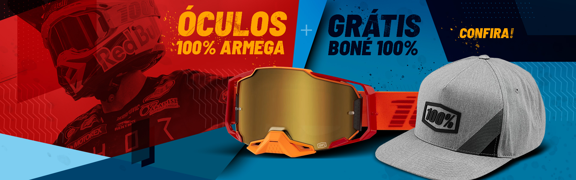 Banners: Óculos 100% Armega - Grátis Boné 100%