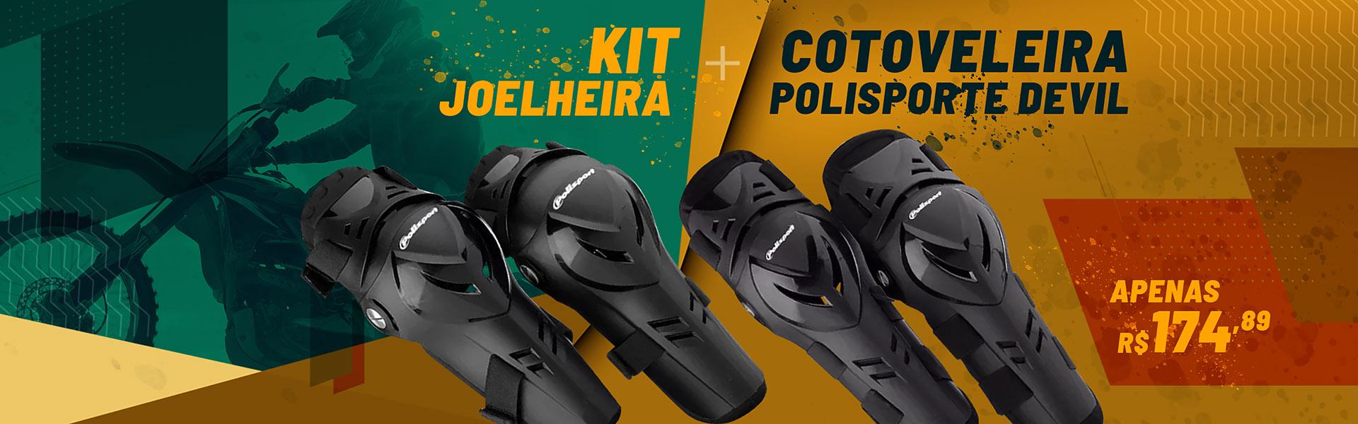 Kit joelheira + Cotoveleira Polisporte Devil
