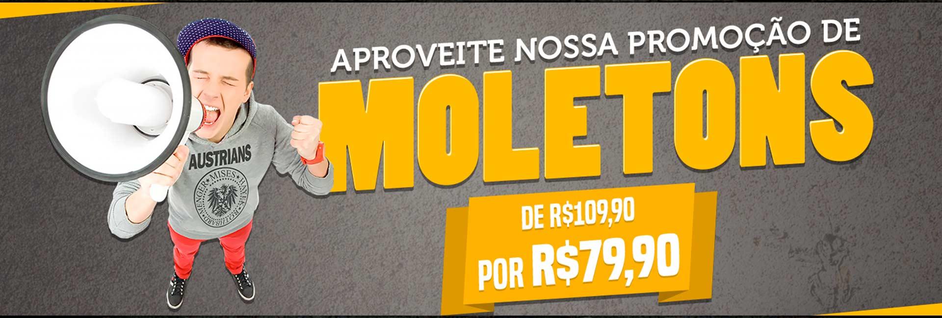 Moletons de R$109,90 por R$79,90