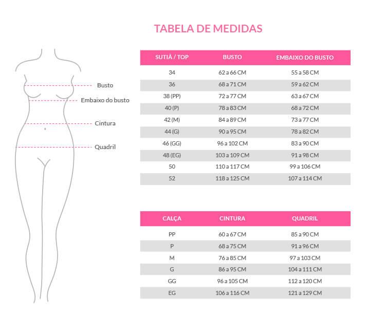 Tabela de Tamanho de nosso produtos