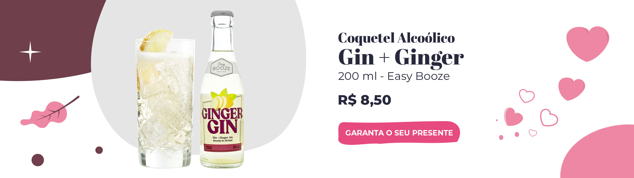 Coquetel Acoólico Eazy Booze 200ml - Gin + Ginger