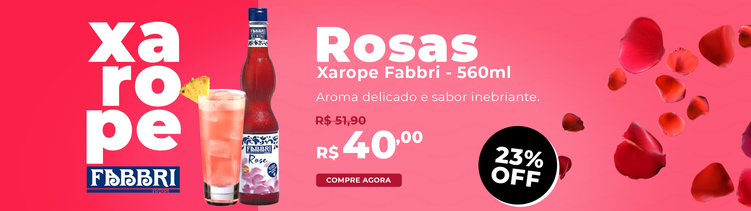 Xarope Rose Rosa Fabbri Profissional 560ml