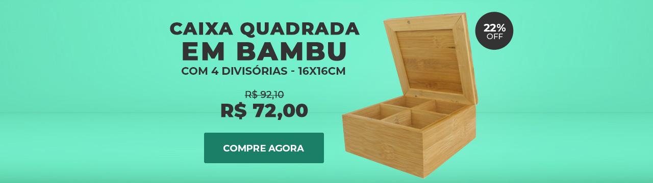 Caixa em Bambu Quadrada Com 4 Divisórias Para Chá e Especiarias