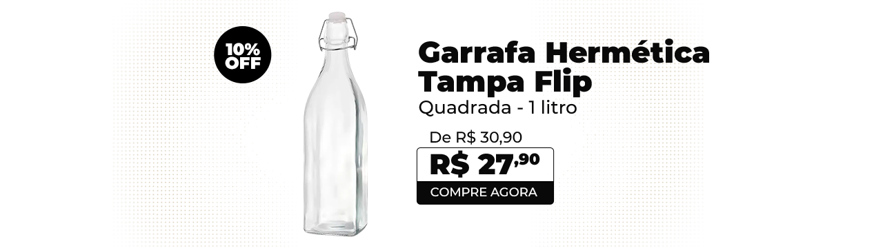 Garrafa Hermética Quadrada Vidro 1 L Tampa Flip