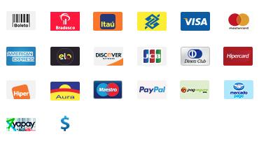 Boleto | VISA | MasterCard | Elo | Diners Club | +
