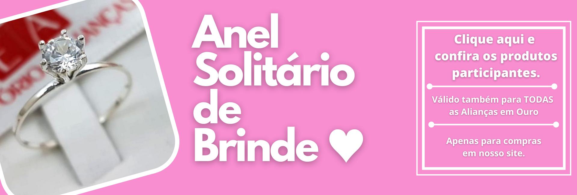 ANEL SOLITÁRIO EM PRATA DE BRINDE