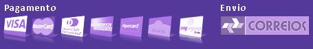 Formas de pagamento e envio: Pagamento: Visa, Master Card, Dinners Club, American Express, Hipercard, Aura, Pag Seguro. Entrega: Correios