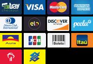 Pague com Tray Checkout, Visa, Master Card, American Express, Diners Club, Elo, Discover, Peela, Aura, JCB, Boleto, Itaú, Bradesco e Banco do Brasil