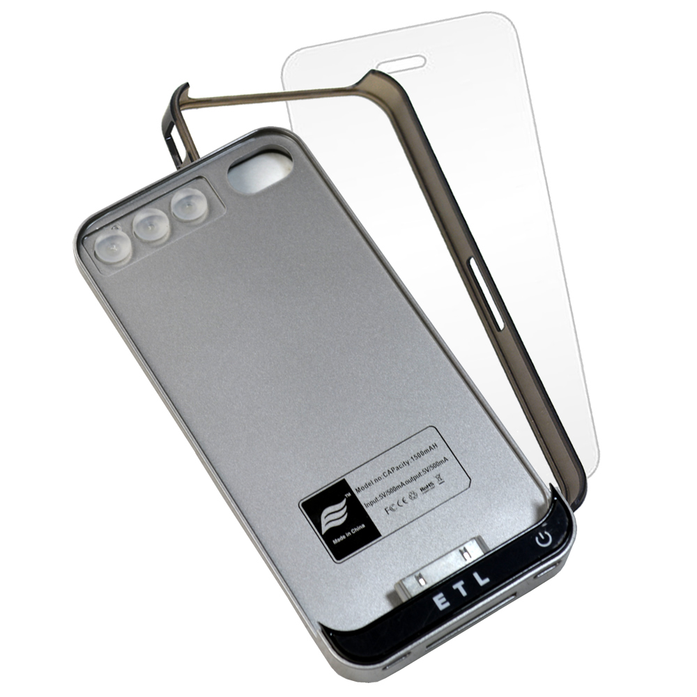 Case Power Bank IPhone 4 1500mAh + capa bumper + pelicula CBRN04492