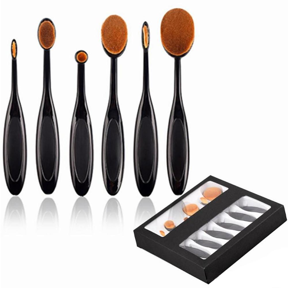 Kit 6 pinceis maquiagem Escova Oval contorno base CBR03471