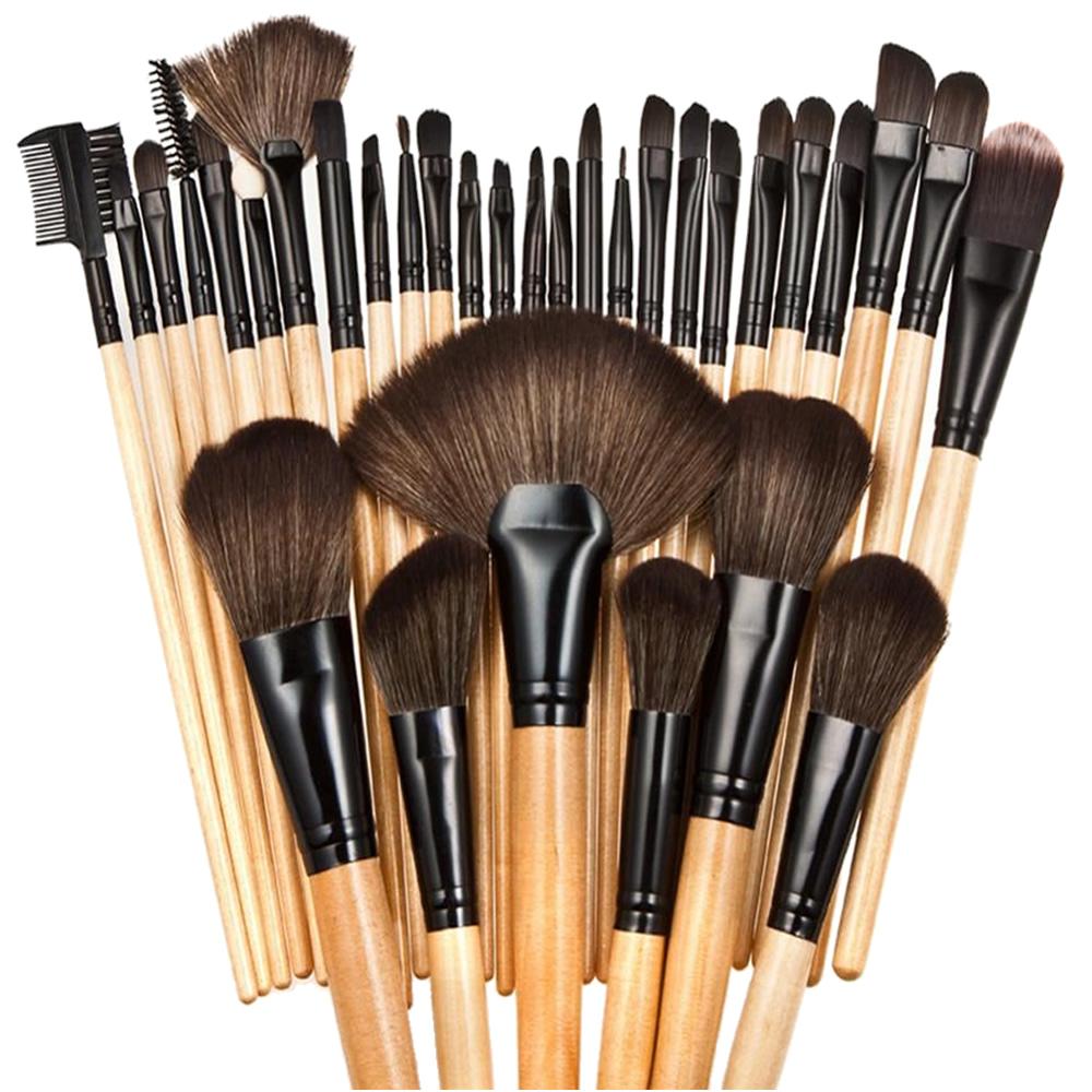 Kit de 32 pinceis para maquiagem profissional com estojo CBR03440