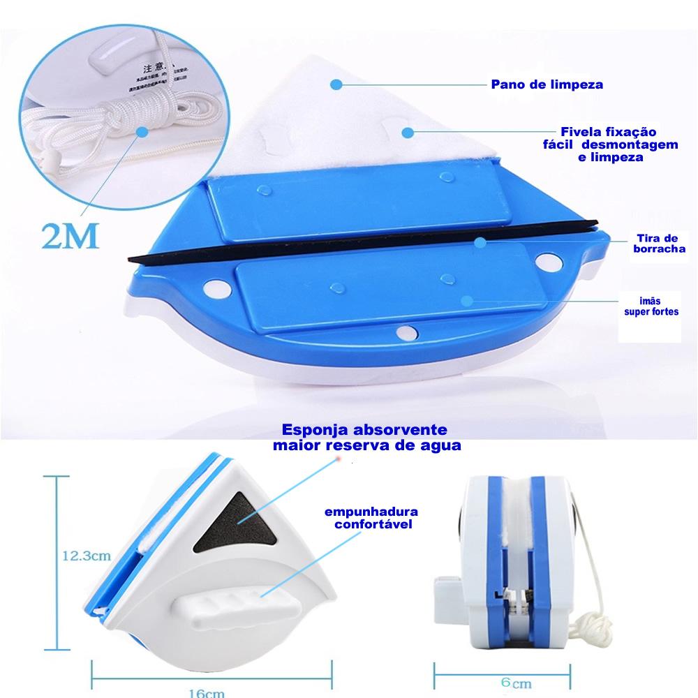 Limpador de Vidro Magnético triangular para Janela Vidraça Aquário CBR03365