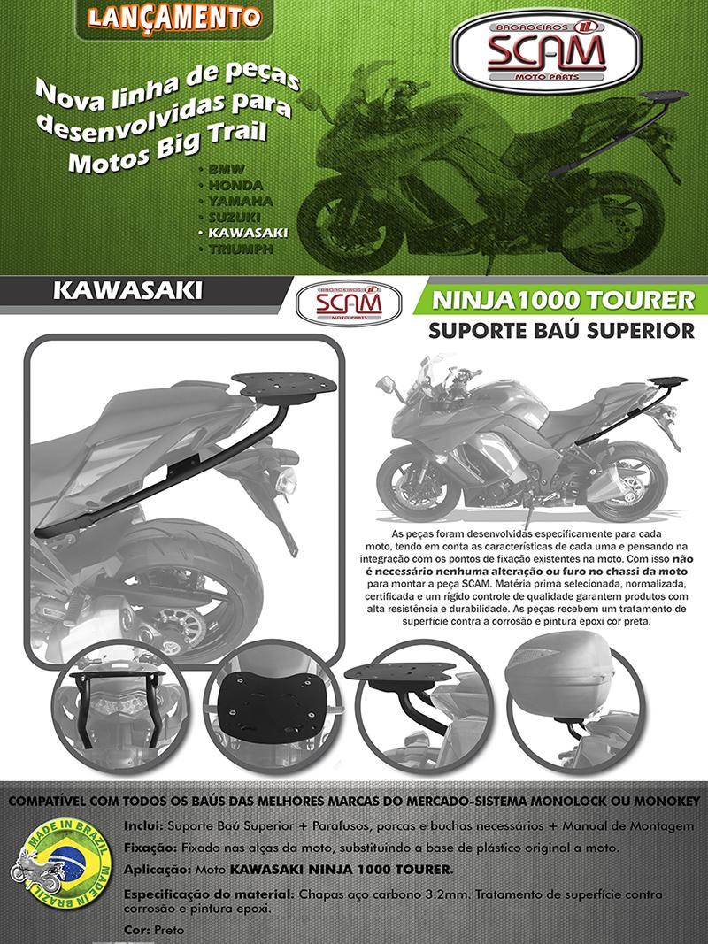 Bagageiro / Suporte Scam Preto em Aço - Ninja 1000 Tourer - Kawasaki