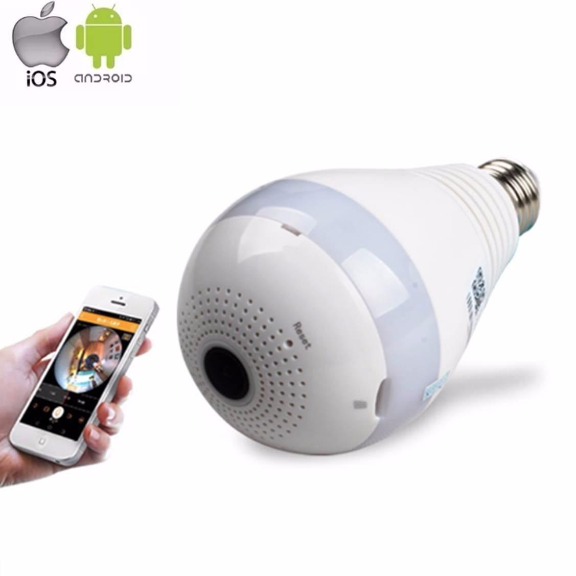 Câmera Lâmpada Espiã Wifi Hd Ip Led  Panorâmica Vr 360º com Áudio