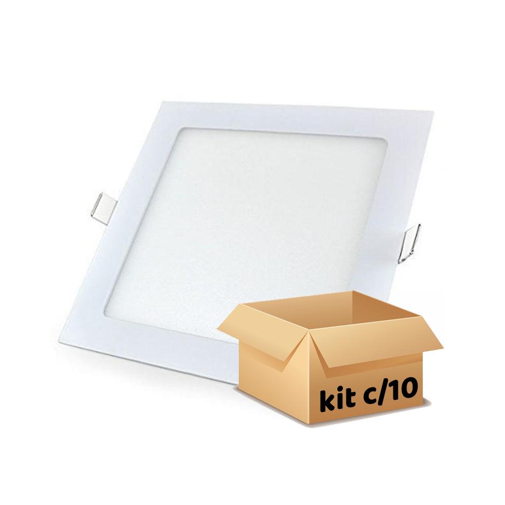 kit 10 plafon embutir 18w quadrado branco frio