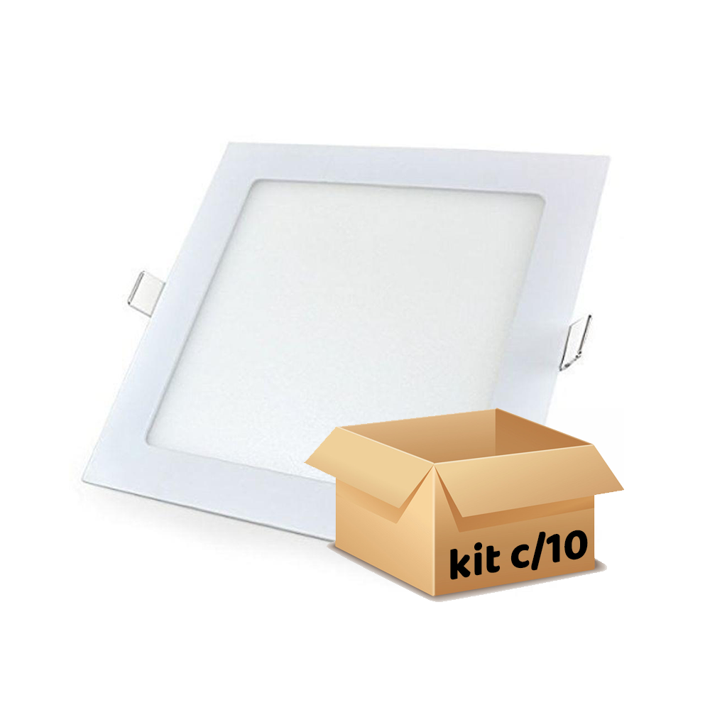 painel embutir 12w quadrado kit