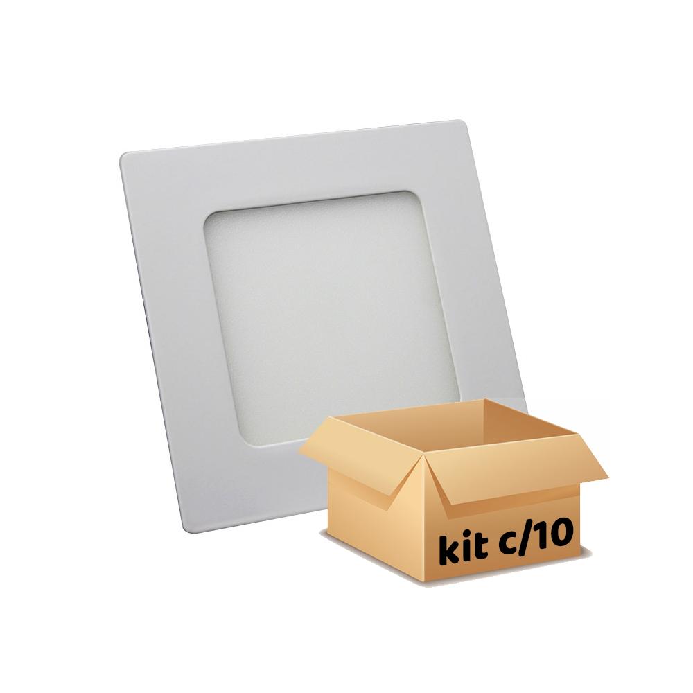 kit 10 plafon embutir 6w quadrado branco frio