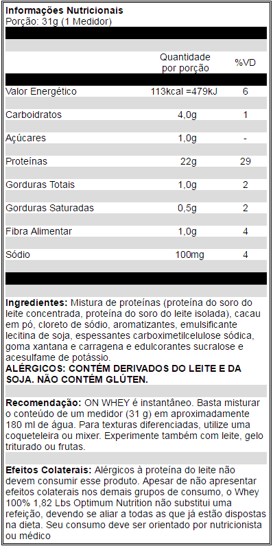 whey optimum nutrition tabela nutricional