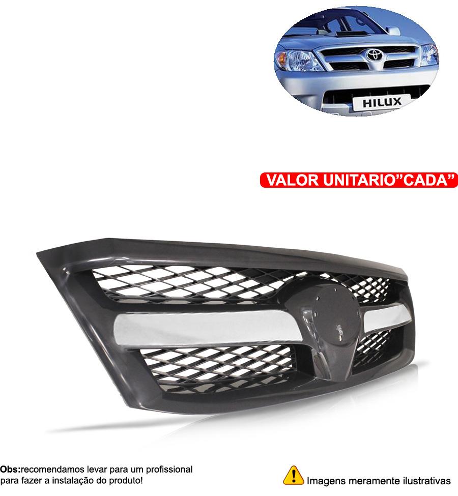 Grade Do Radiador Hilux Srv 05 06 07 08 Com Friso Cromado - Cabeça Car