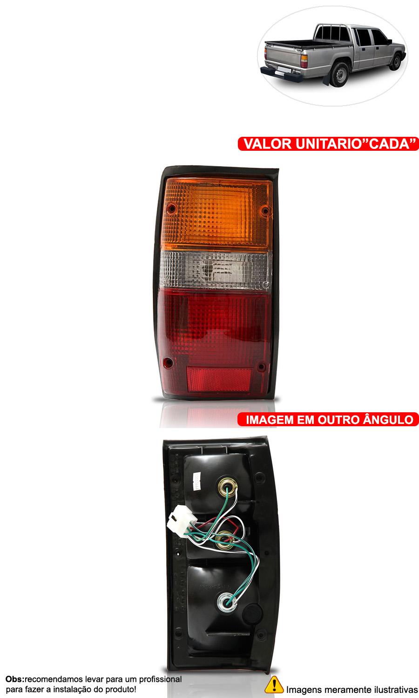 Lanterna Traseira Tricolor L200  94 Até 03 Moldura Preta - Cabeça Car