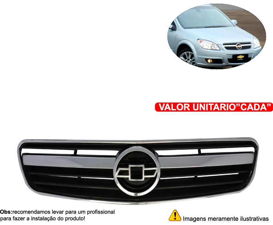 grade frontal vectra 06 07 08 preta com friso cromado - Cabeça Car