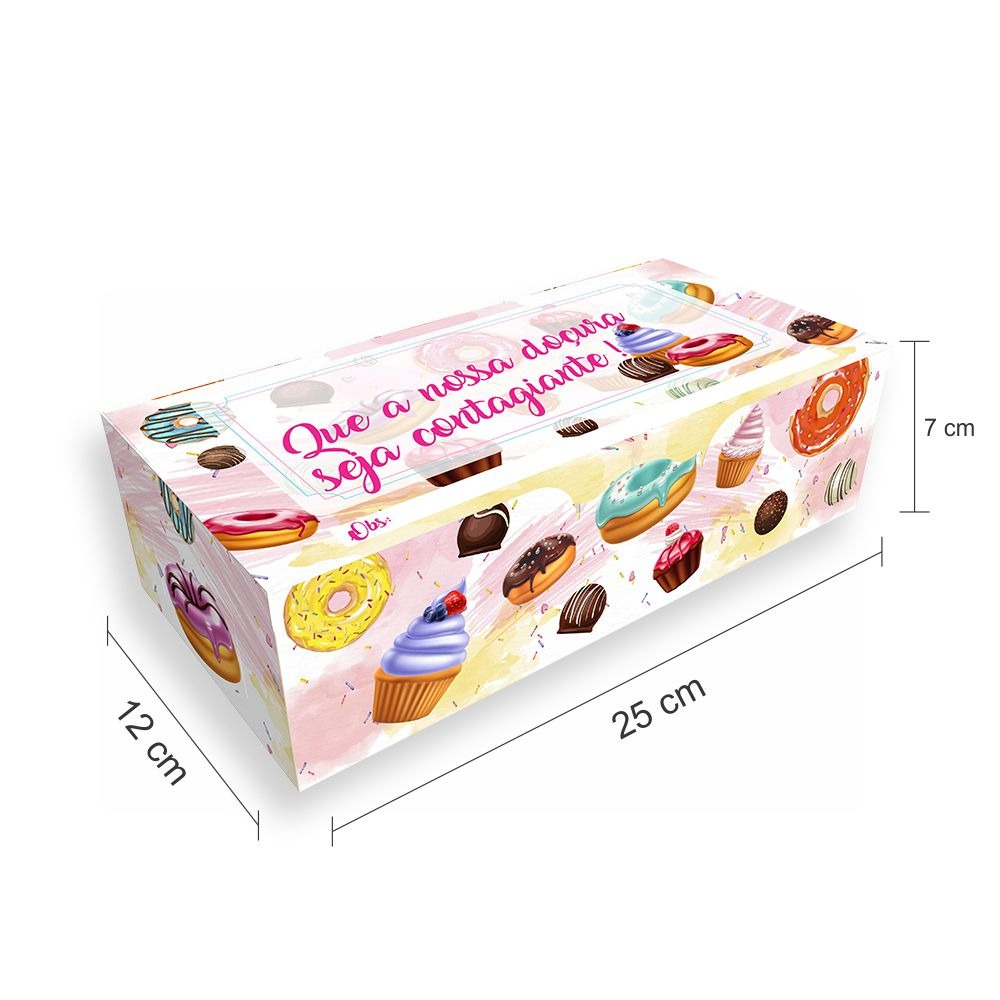 Tamanho da embalagem de doces, donuts e rosquinhas