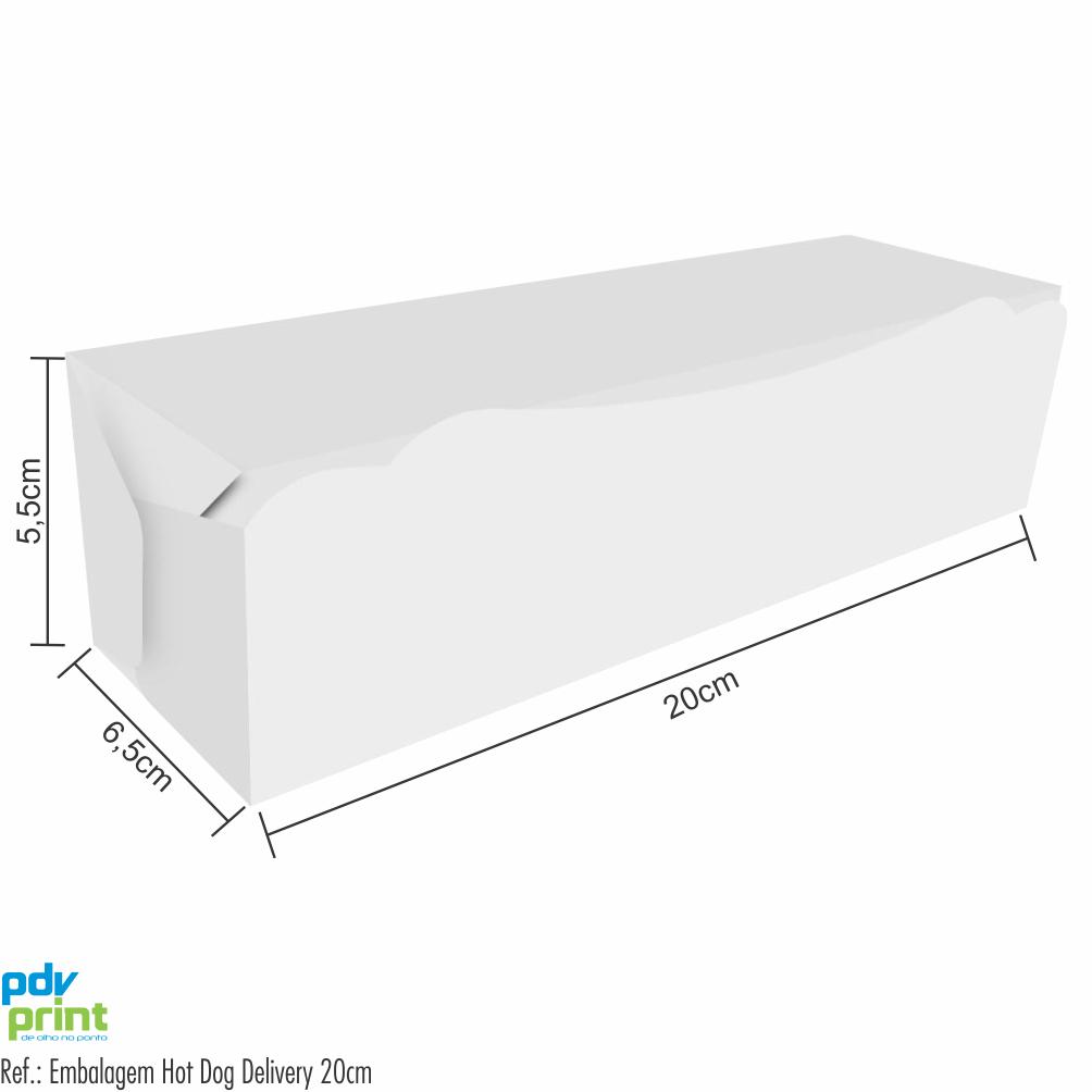 Dimensões Embalagem para Cachorro Quente Delivery 20cm