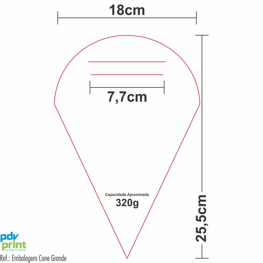 Dimensões Embalagem em Cone Grande