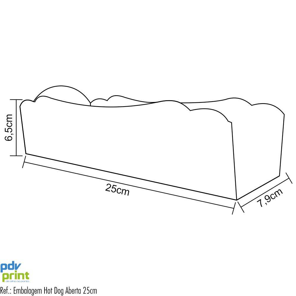 Dimensões da Embalagem para Hot Dog 25cm