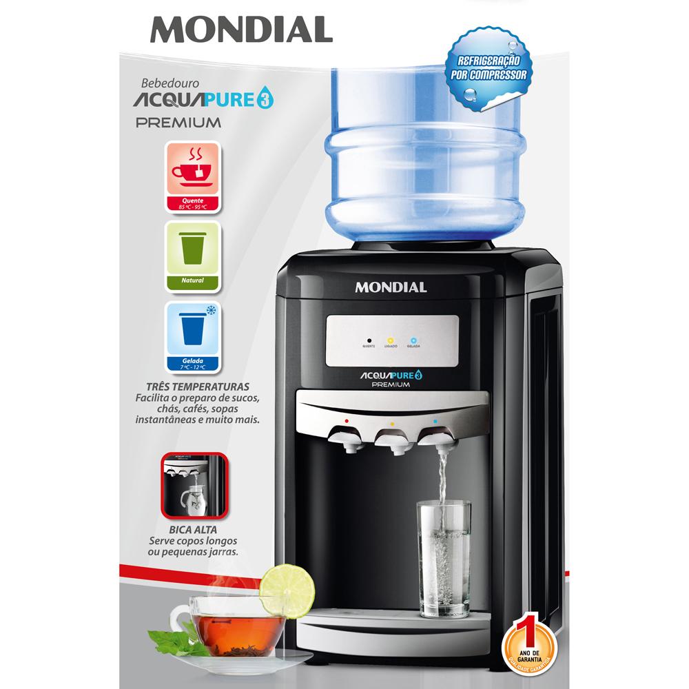 Bebedouro Acqua Pure 3 Premium Mondial BB-03 Com 3 Temperaturas 127V - Natural, Gelada e Quente