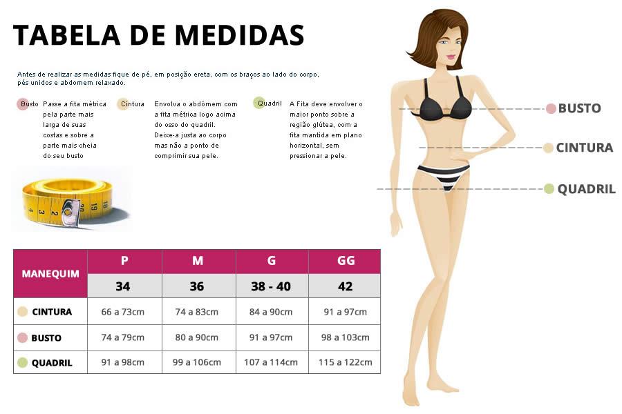 Rabela de medidas - Body Pós-Parto Modelador para Amamentação
