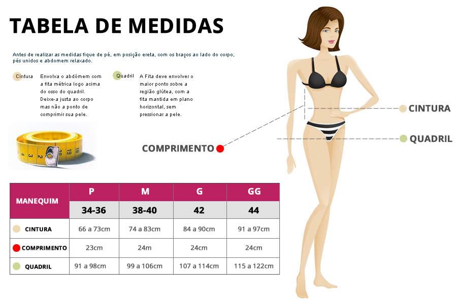 Tabela de medidas - Cinta Modeladora Abdominal Pós-Cirúrgica