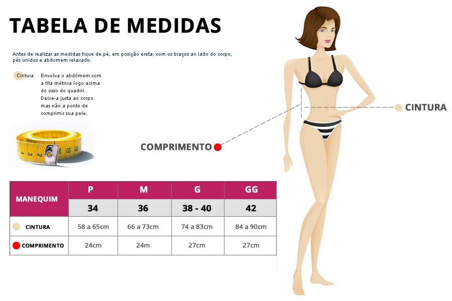 Tabela de medidas - Cinta Modeladora Abdominal Alta Compressão
