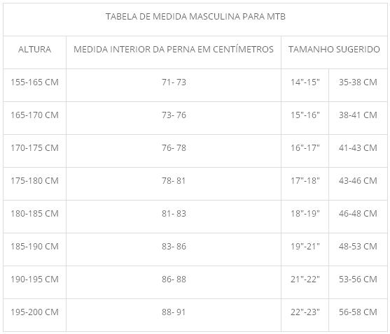 tabela de medidas masculina