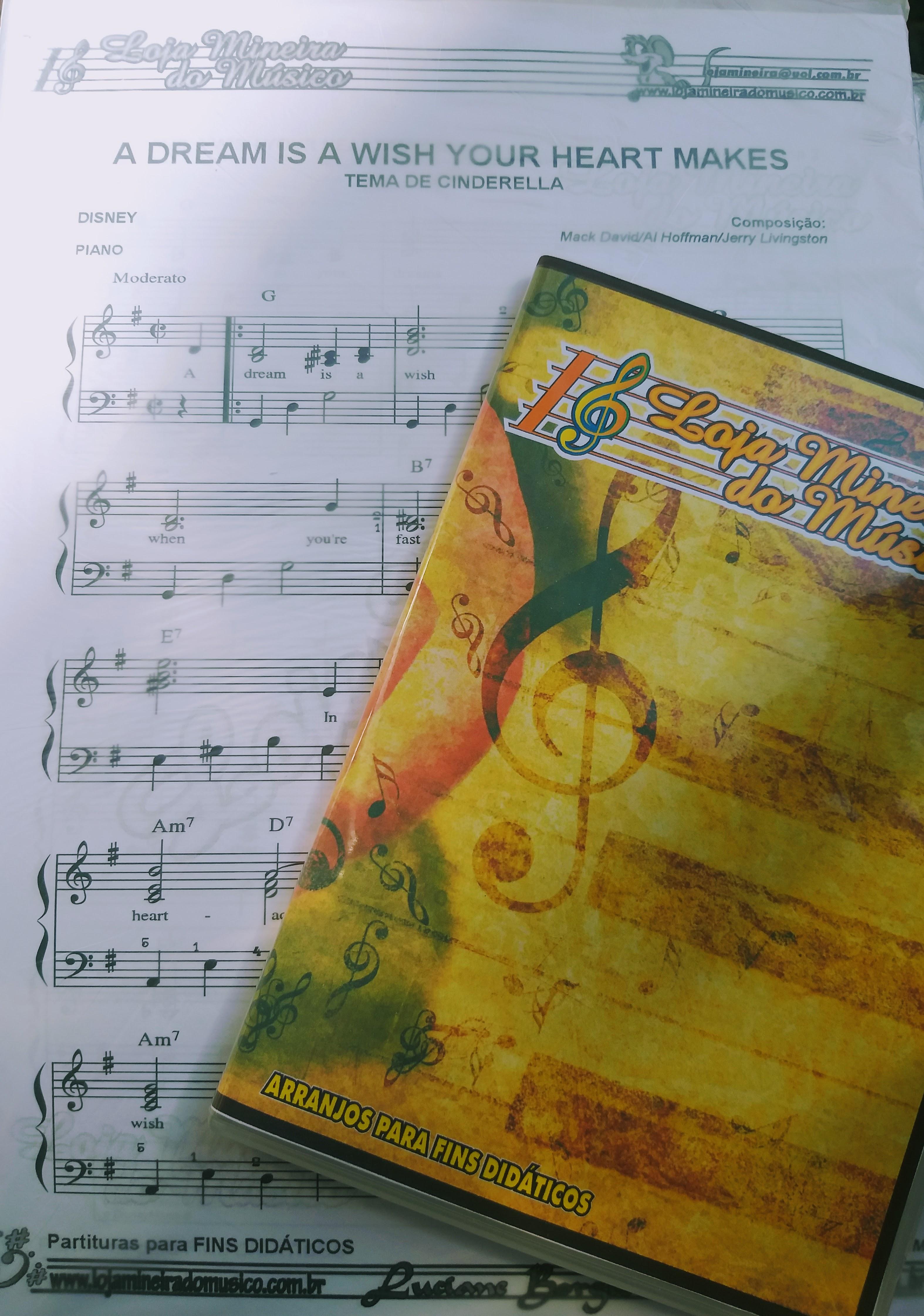 A dream is a wish Cinderela Partitura para Piano em PDF Loja Mineira do Musico