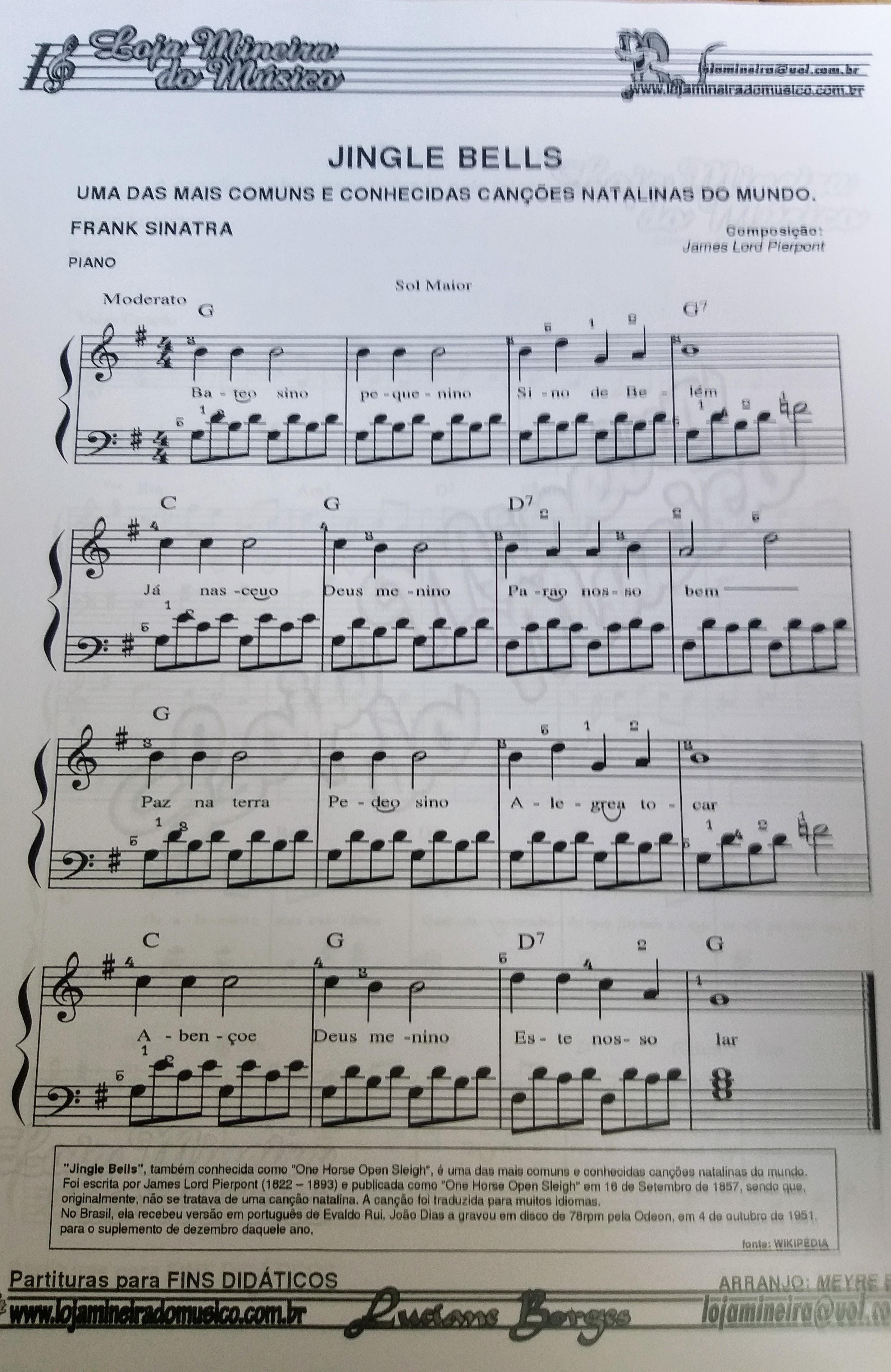 Bate o sino pequenino Partitura de Jingle Bel para Piano Facil Natalinas Partituras para Piano em PDF Loja Mineira do Musico