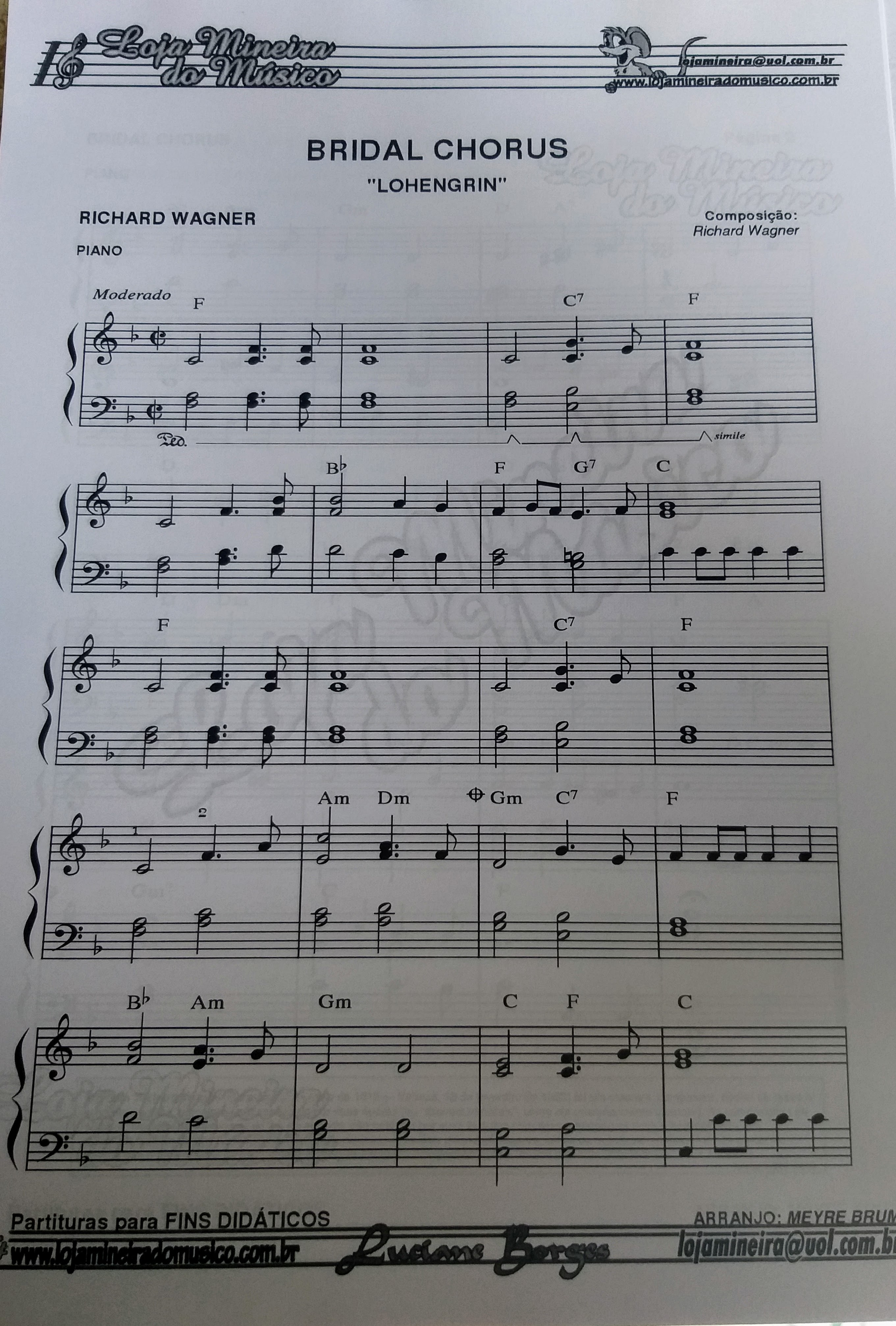 Bridal Chorus Partitura de Piano para iniciante em PDF
