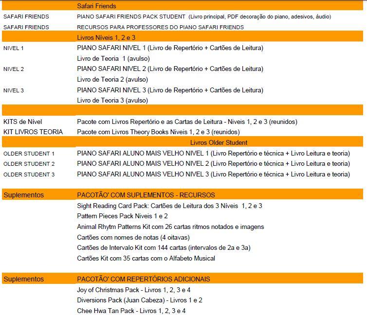 catalogo livros piano safari preços brazil Loja Mineira do Musico Brasil