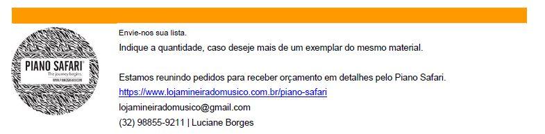 Preço Livro Piano Safari Promoção Loja Mineira do Musico Consulte