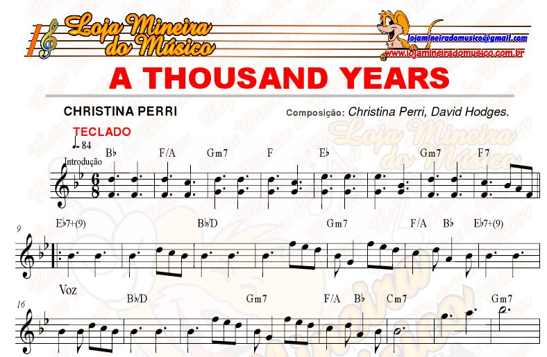 partitura a thousand years para teclado gratis pdf da @LojaMineiradoMusico