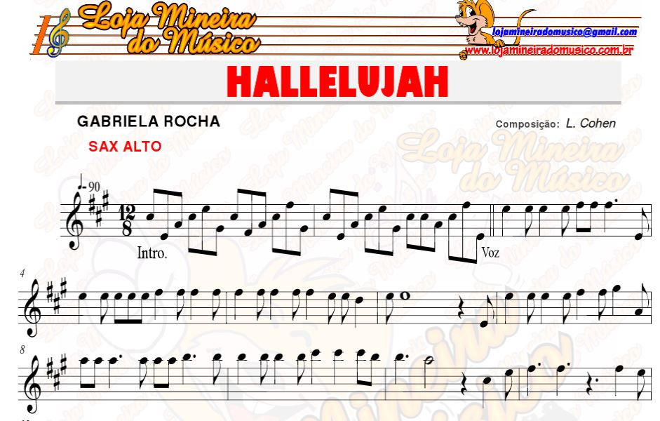 hallelujah partitura gratuita @LojaMineiradoMusico