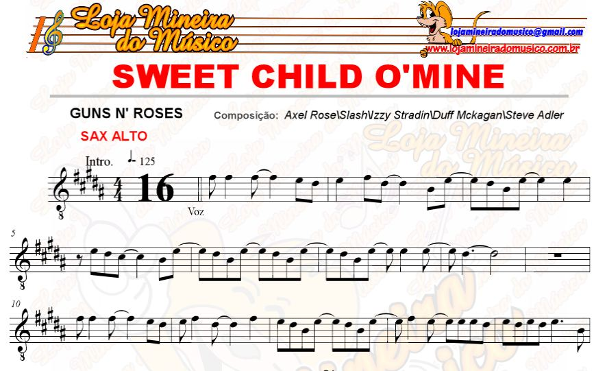 partitura de rock para casamento lojamineiradomusico