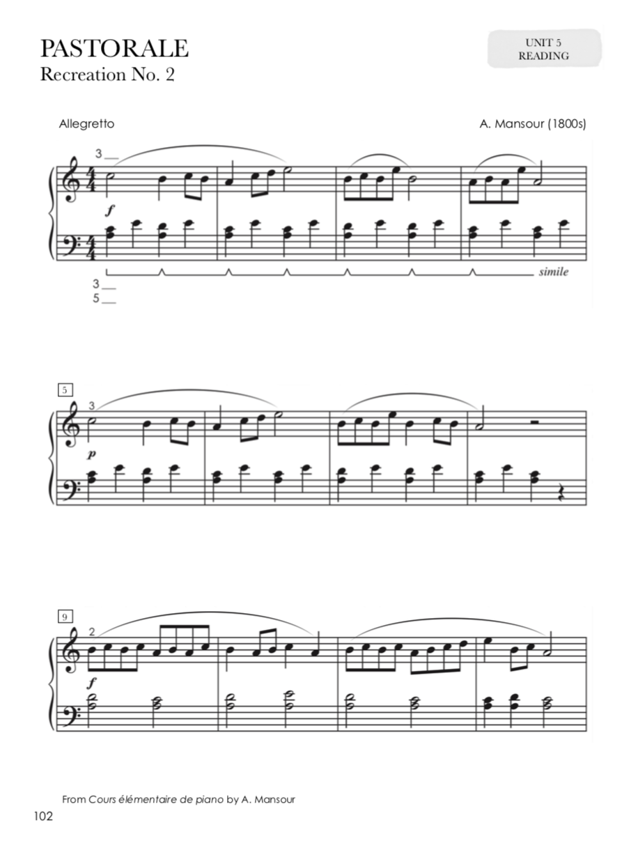 PASTORALE PARA PIANO INICIANTE LEITURA TEORIA PIANO SAFARI NIVEL 2 STUDENT OLDER