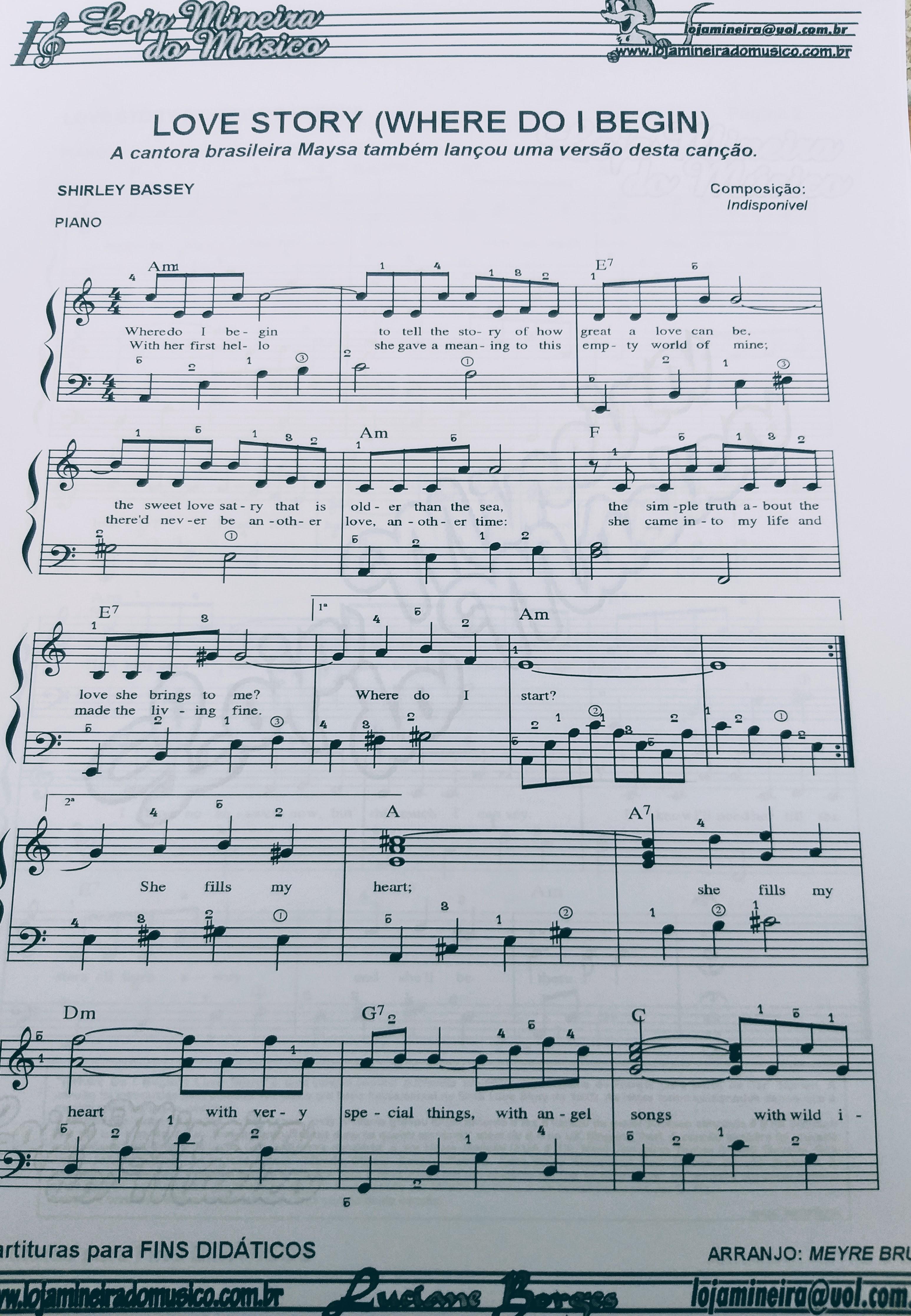 Love Story Partitura para Piano