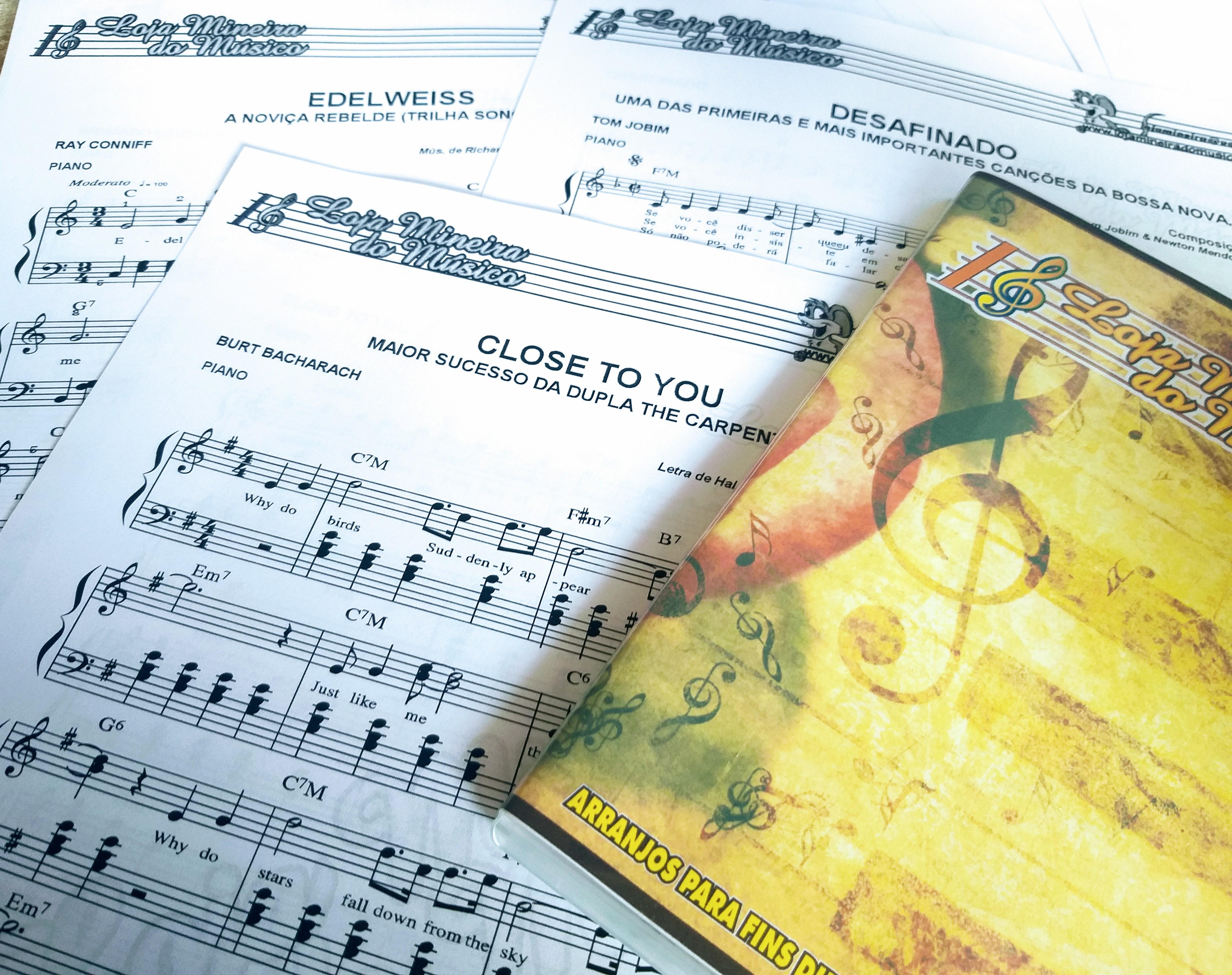 Coletânea de Partituras para Piano Iniciante Apresentação Loja Mineira do Musico
